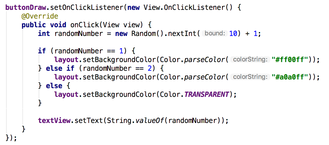 Final code for click listener