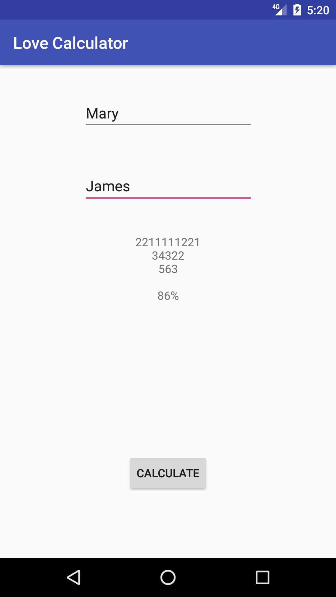 Love Calculator Working Algorithm Result