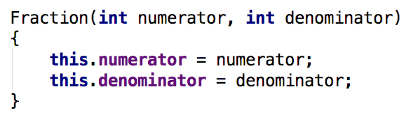 New Fraction constructor