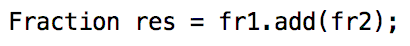 Actual calculation for two fractions (add)