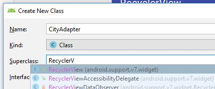 Select super class RecyclerView