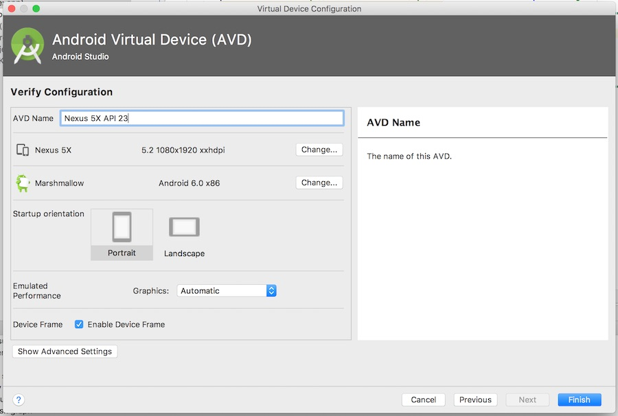 AVD verify configuration