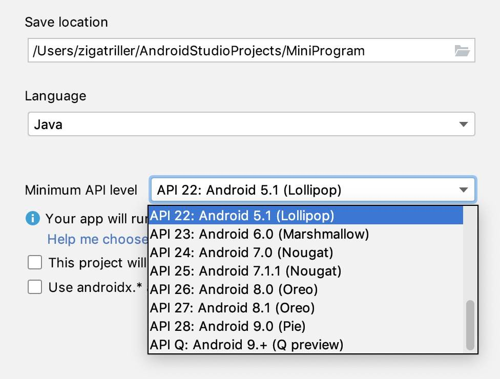Android studio project - Choose API 22