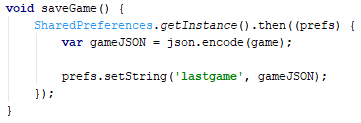 Storing using the JSON string