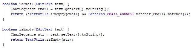 Methods isEmail and isEmpty for the Login form - Java - CodeBrainer