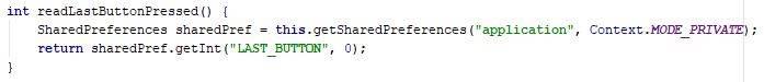 readLastButtonPressed method code - Java - CodeBrainer