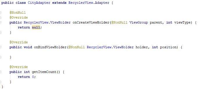 RecyclerView adapter code