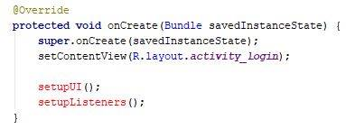 setupUI and setupListeners code - Java - CodeBrainer