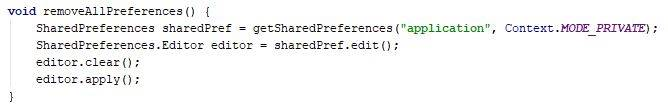 SharedPreferences remove all the values at once