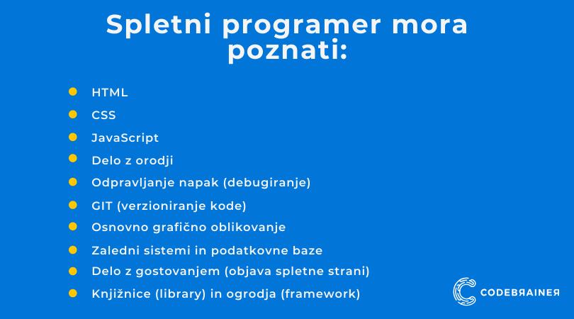 Katere spretnosti potrebuje spletni programer - CodeBrainer