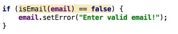 Validity of email code - Java - CodeBrainer
