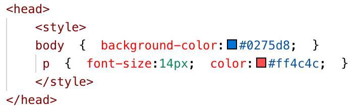 Internal CSS example